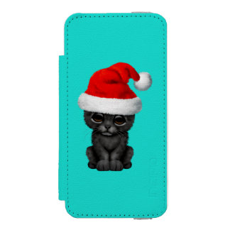 Cute Black Panther Cub Wearing a Santa Hat Wallet Case For iPhone SE/5/5s