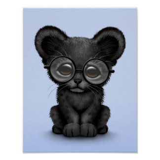 Cute Black Panther Cub Wearing Glasses on Blue Poster