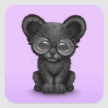 Cute Black Panther Cub Wearing Glasses on Purple Stickers