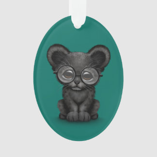 Cute Black Panther Cub Wearing Glasses on Teal Ornament