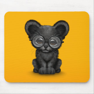 Cute Black Panther Cub Wearing Glasses on Yellow Mouse Pad