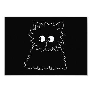 Cute Black Persian Cat. 3.5x5 Paper Invitation Card