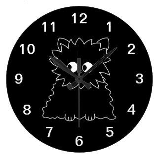 Cute Black Persian Cat. Large Clock