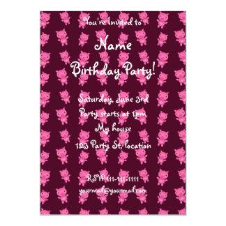 Cute black pig pattern 5x7 paper invitation card