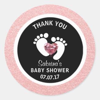 Cute Black Pink Baby Feet Baby Shower Girl Favor Classic Round Sticker