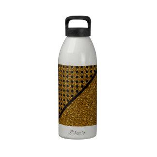 Cute Black Polka Dots Gold Glitter Photo Print Water Bottle