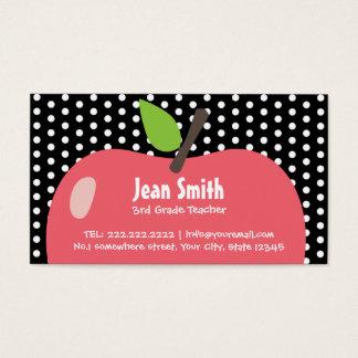 Cute Black Polka Dots School Teacher Business Card