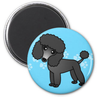 Cute Black Poodle Cartoon 2 Inch Round Magnet