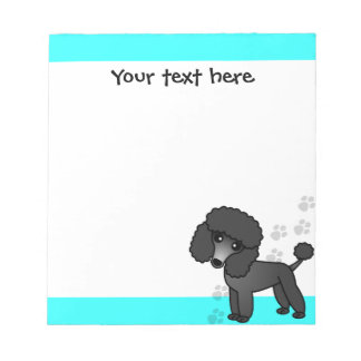 Cute Black Poodle Cartoon Blue Paw Print Notepad