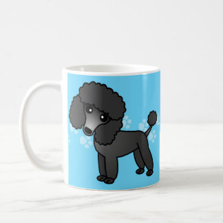 Cute Black Poodle Cartoon Coffee Mug