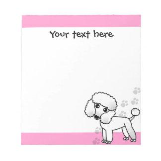 Cute Black Poodle Cartoon Pink Paw Print Note Pad
