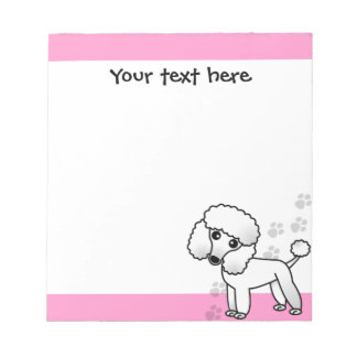 Cute Black Poodle Cartoon Pink Paw Print Notepad