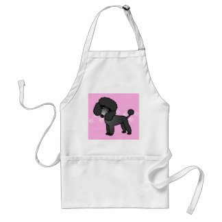Cute Black Poodle Cartoon - Pink Pawprint Adult Apron