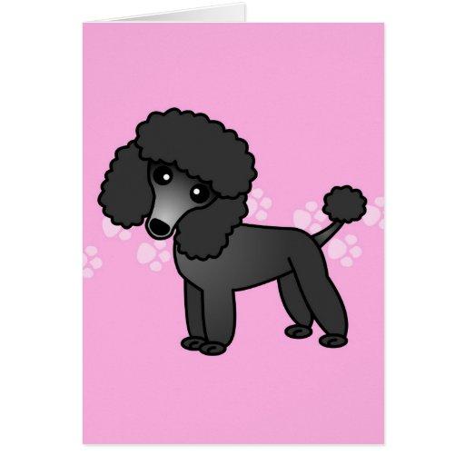 Cute Black Poodle Cartoon - Pink Pawprint Greeting Cards