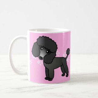 Cute Black Poodle Cartoon - Pink Pawprint Coffee Mug
