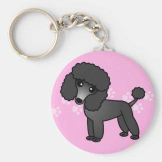 Cute Black Poodle Cartoon - Pink Pawprint Keychain