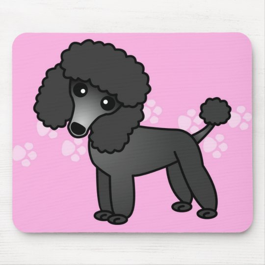 Cute Black Poodle Cartoon - Pink Pawprint Mouse Pad