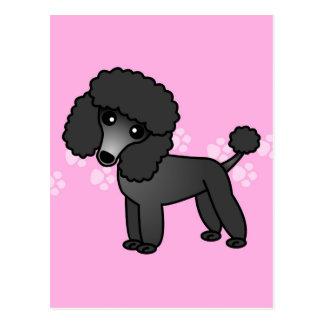 Cute Black Poodle Cartoon - Pink Pawprint Postcard