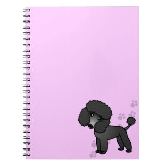 Cute Black Poodle Cartoon with Pink Paw Print Notebook