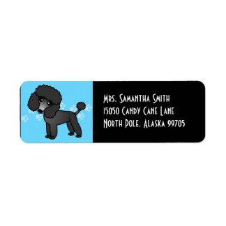 Cute Black Poodle Label