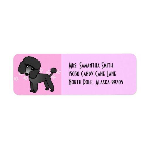 Cute Black Poodle - Pink Custom Return Address Label
