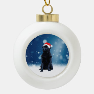 Cute Black Pug Dog Christmas Santa Hat Snow Stars Ceramic Ball Christmas Ornament