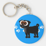 Cute Black Pug Keychain - Blue