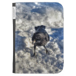 Cute Black Raven in the Snow Photo Kindle Keyboard Case