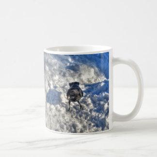 Cute Black Raven in the Snow Photo Coffee Mug