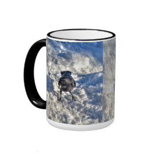 Cute Black Raven in the Snow Photo Ringer Mug