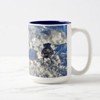Cute Black Raven in the Snow Photo Two-Tone Coffee Mug