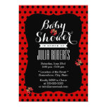 Cute Black & Red Dots Ladybugs Baby Shower 5x7 Paper Invitation Card
