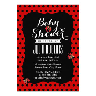Cute Black & Red Dots Ladybugs Baby Shower Card