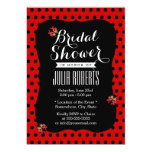 Cute Black & Red Dots Ladybugs Bridal Shower 5x7 Paper Invitation Card