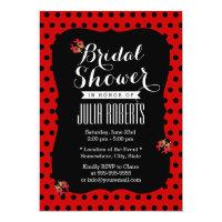 Cute Black &amp; Red Dots Ladybugs Bridal Shower 5x7 Paper Invitation Card (<em>$2.11</em>)