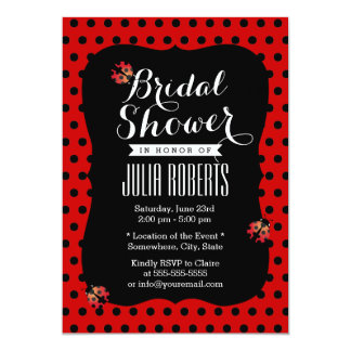 "Cute Black & Red Dots Ladybugs Bridal Shower 5"" X 7"" Invitation Card"