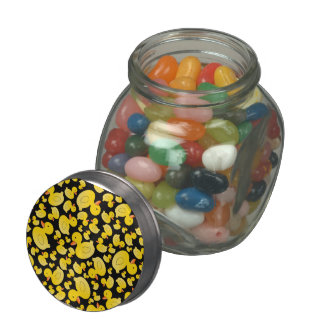 Cute black rubber ducks glass jar