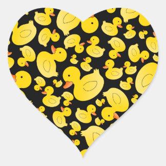 Cute black rubber ducks heart sticker