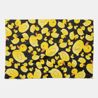 Cute Black Rubber Ducks Towel