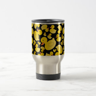 Cute black rubber ducks travel mug