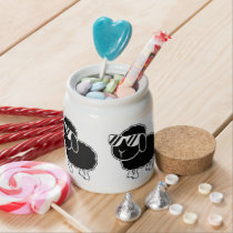 Cute Black Sheep Cartoon Candy Jar