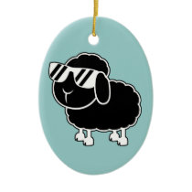 Cute Black Sheep Cartoon Ceramic Ornament