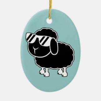 Cute Black Sheep Cartoon Ceramic Ornament