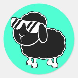 Cute Black Sheep Cartoon Classic Round Sticker