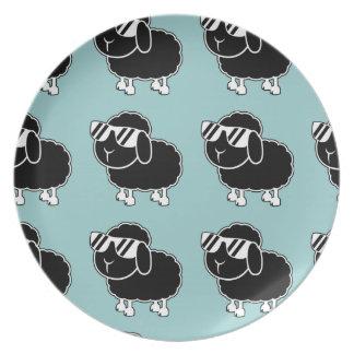 Cute Black Sheep Cartoon Dinner Plate