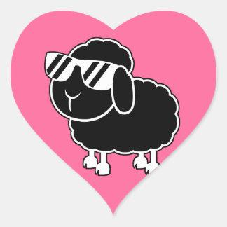 Cute Black Sheep Cartoon Heart Sticker