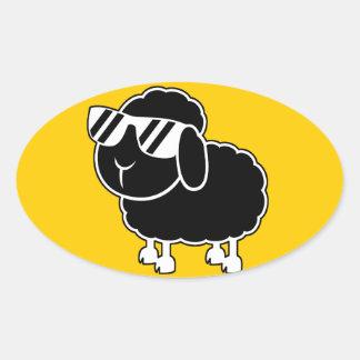 Cute Black Sheep Cartoon Oval Sticker