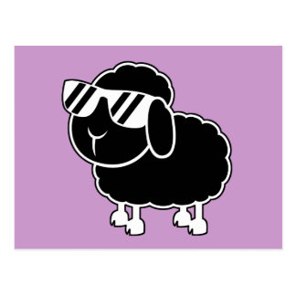 Cute Black Sheep Cartoon Postcard