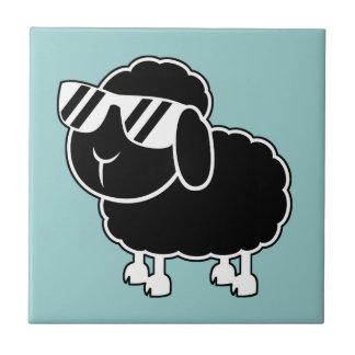 Cute Black Sheep Cartoon Small Square Tile