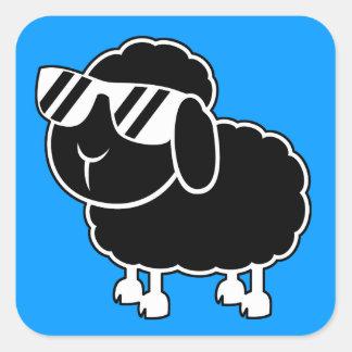 Cute Black Sheep Cartoon Square Sticker